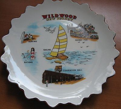 """Vintage Wildwood New Jersey 7"""" Plate Midway Fun Sailing Surfing Souvenir"""