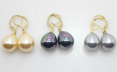 wholesale lots 3pairs gold black gray shell beads earring hook mother of pearl