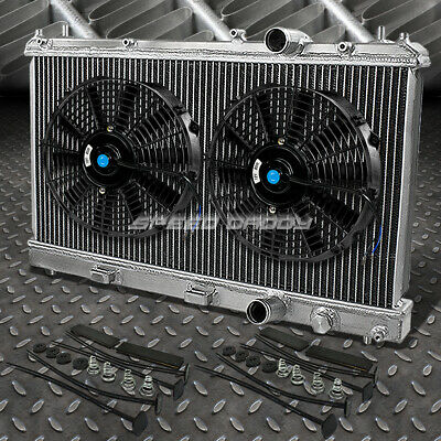 "2-ROW ALUMINUM RADIATOR+2X 10""FAN BLACK FOR 95-99 DODGE/PLYMOUTH NEON 2.0L l4"