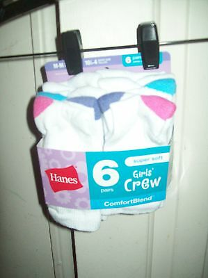 6 Pair of  Girl's size 4-10 Socks CREW by Hanes NEW