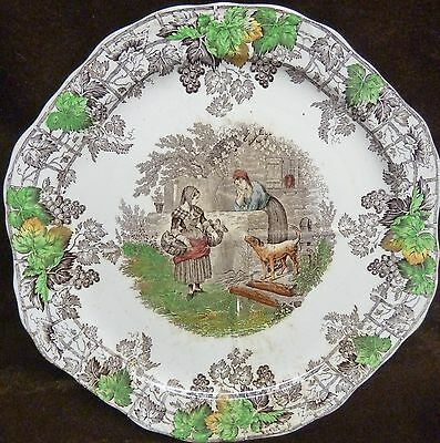pretty spode plate- victorian spode's byron series plate divided into four ladys