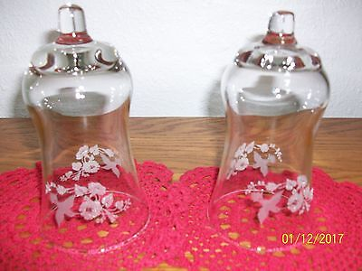 Home Interior/homco--Set Of 2--Etched Humming Bird  Clear Glass Votive Cups