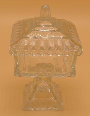 "Jeannette Wedding Clear Pressed Glass 6"" Square Covered Candy Dish"