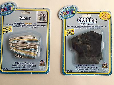 Webkinz Clothing Lot of 2 Cuffed Jeans + Striped Shorts NIP Feature Code