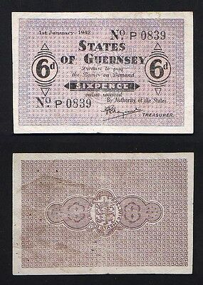 GUERNSEY P-24.  1942 WW.11 German Occupation... Sixpence..  VF