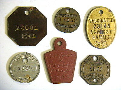 6 different Rabies Tags dated 1930's & 1940's