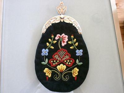 Gorgeous Authentic Hand Embroidered Norwegian Bunad New Purse Used Silver Norway