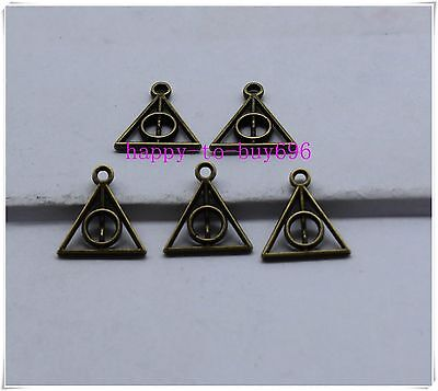 100pcs deathly hallows BRONZE metal charm pendant Film Movie Harry potter Gifts
