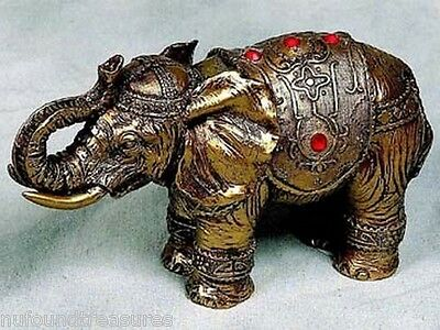 Decorated Elephant Parade Ready Gold Color Table Figurine With Beads New In Box