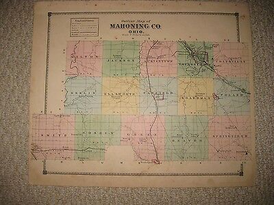 Antique 1874 Mahoning County Ohio Map Youngstown Canfield Poland Washingtonville