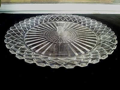 """Crystal Waterford Waffle Sherbet / Bread / Pie Plate 5 7/8""""(Made In USA)"""