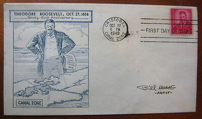 Canal Zone 138 unadd first day cover, Bill Hume cachet signed by cachet designer