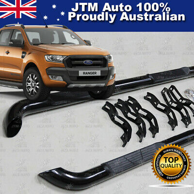 Ford Ranger T7 PX2 Dual Cab Running Boards Black Steel Side Steps 2015-2017