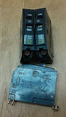 (3) Square D 20amp 1-pole Circuit Breakers - QOB - WORKING CONDITION