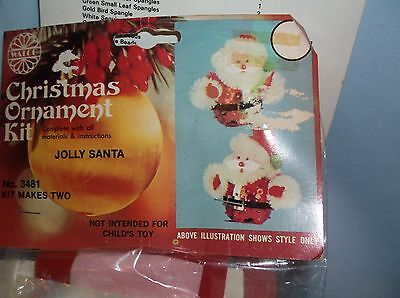 Vintage Walco JOLLY SANTA CLAUS Bead Sequin Christmas Ornament Kit