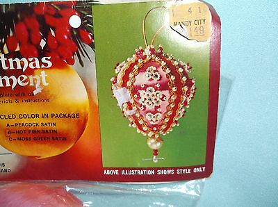 Vintage Walco HOT PINK IRIDESCENT SATIN FLOWER Bead Christmas Ornament Kit