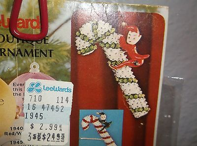 Vintage LeeWards GREEN WHITE CANDY CANE RED ELF ELVES Bead Sequin Ornament Kit