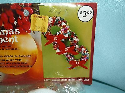 Vintage Walco 3 MULTI COLORED WREATHS RED TRIM Bead Sequin Ornament Kit