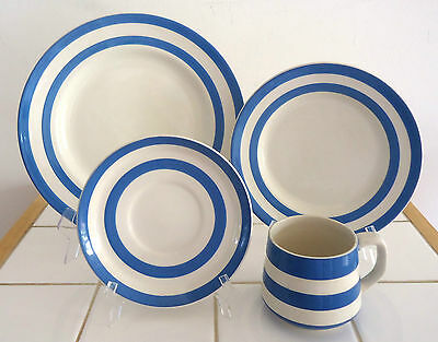 T.g. Green Cornishware - Blue & White Dinner Plate, Side Plate, Cup & Saucer #1