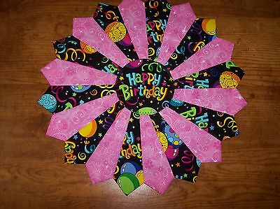 """Handmade Quilted """"Happy Birthday"""" Table Topper, Candle Mat, Placemat, 15"""""""