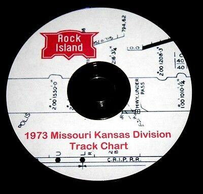 Rock Island 1973 Missouri Kansas Division Track Chart Pages on DVD