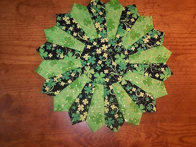 """Handmade Quilted St. Patrick's Day Table Topper, Candle Mat, Placemat, 15"""""""
