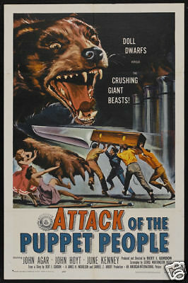 Attack of the puppet people vintage horror movie poster print