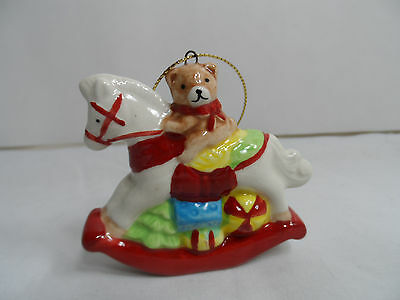 Rocking Horse with Teddy Bear and Toys Christmas Tree Ornament new snow winter
