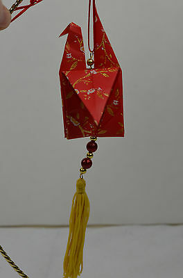 Oriental Origami Bird with Cherry Blossoms & Tassel Christmas Tree Ornament new