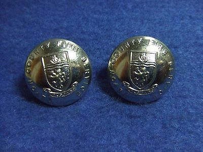 2 X Devon County Fire Service Plated Metal  24Mm Buttons