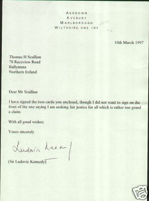 SIR LUDOVIC KENNEDY British Journalist Autograph Signed Letter UACC DEALER (A