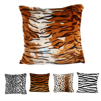 Square Animal Print Leopard Zebra Throw Pillow Case Sofa Bed Chair Cushion Cover