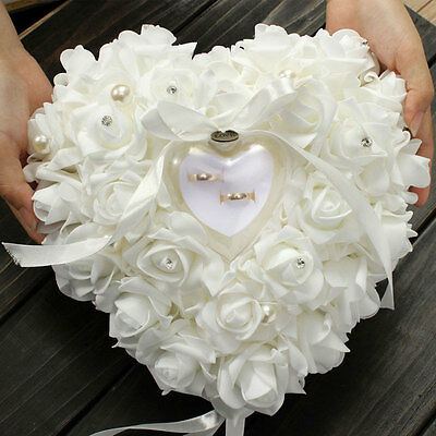 White Pearl Rose Wedding Favors Heart Shaped Gift Ring Box Pillow Cushion