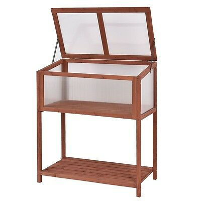 Portable Garden Wooden Cold Frame Greenhouse Raised Flower Plant Protection Bed