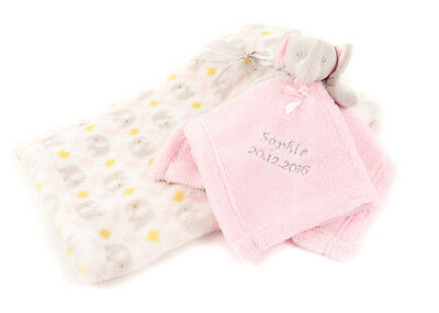 Personalised Embroidered Baby Comforter Pink Elephant + Blanket Gift Set Baby