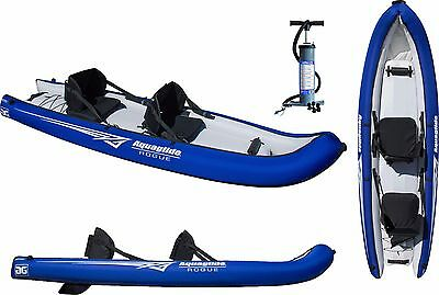 Aquaglide Rogue Two Person Open Toe Sit On Top Inflatable Fish Dive Kayak + PUMP