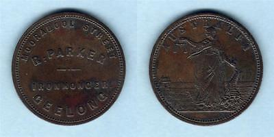 Australia Token.  Parker 1d..   35mm - Large Size ..Geelong Vic..  SCARCE.. VF
