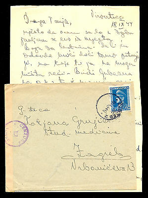 Croatia (Ndh) Wwii - Letter With Content Sent To Zagreb 1944, Censorship Cancel