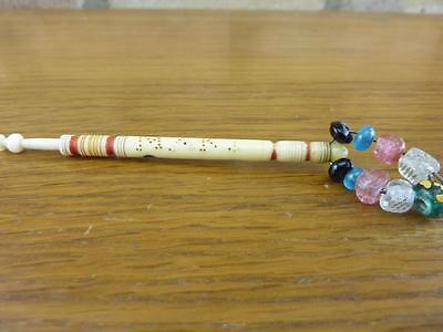 """Antique Bovine bone Lace bobbins with Inscribed Name """" MARY """" with spangles"""