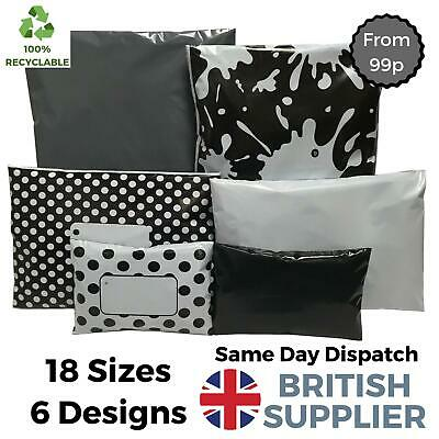 Plastic Polythene Mailing Postage Packaging Coloured Bags  Grey Black White