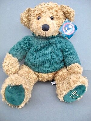 New With Tags HARRODS 1998 Christmas BEAR Collectable Teddy Green Wool Jumper