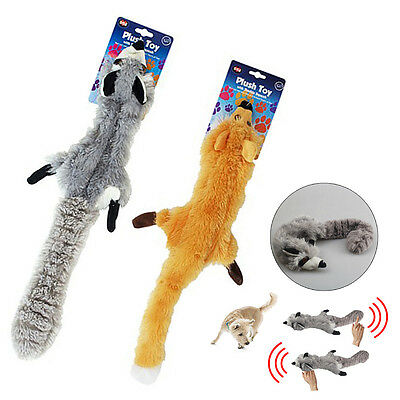 Soft Pet Puppy Dog Chew Squeaker Squeaky Plush Sound Toy Fox Racoon No Stuffing