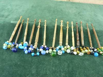 14 nice Vintage wooden Lace bobbins  with  spangles