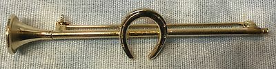 Fox Hunt Hunting Horse Shoe and Coaching Horn Brass Costume Stock Pin