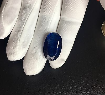 Huge NATURAL Deep Blue Ceylon Kyanite 31.37ct Oval Cut Sri Lanka Gem UNTREATED