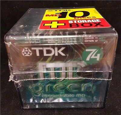 TDK 74 minute Recordable Blank Minidiscs GREEN MD 10 Pack with Free Storage Box