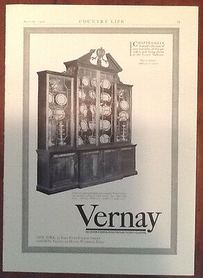 Vernay ad 1929 1920s illustration advertisement furniture home decor Chippendale