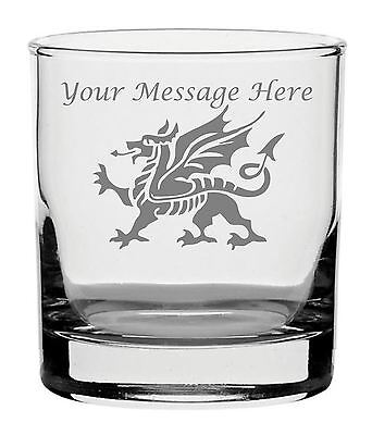 Personalised Engraved Whisky Glass With Welsh Dragon Design