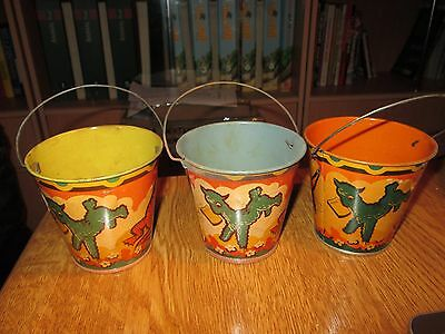 Lot of 3 Vintage Tin Toy Sand Pails no.4 Musical animals by Happynak 30's pail