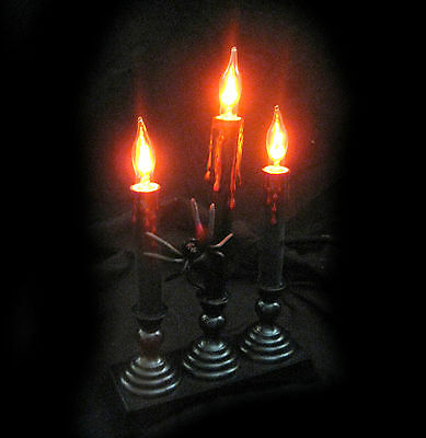 """Lighted Candelabra  with Spider Haunted House Halloween Party Prop 12"""""""